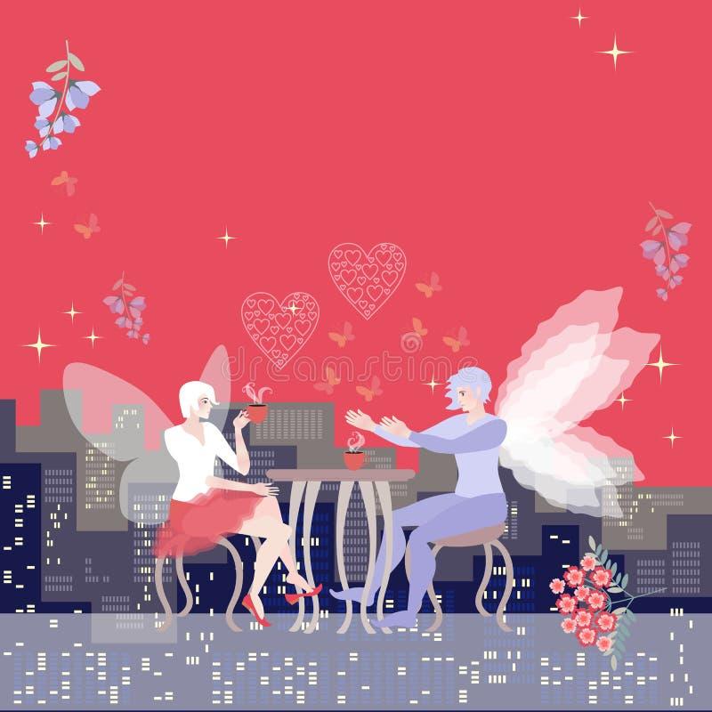 Tarjeta hermosa Espacio para el texto Fecha soñadora de hadas coas alas La mujer hermosa bebe té y el hombre confiesa amor ilustración del vector