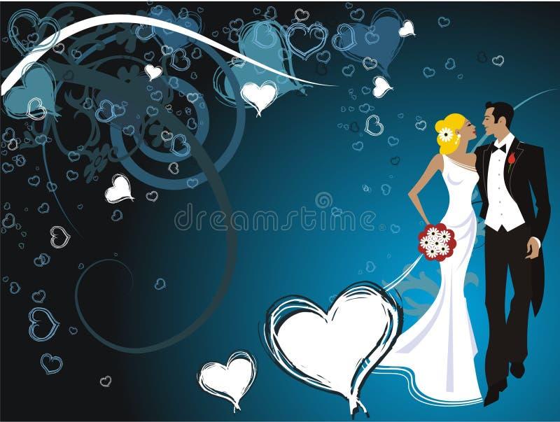 Tarjeta hermosa Wedding de los pares stock de ilustración