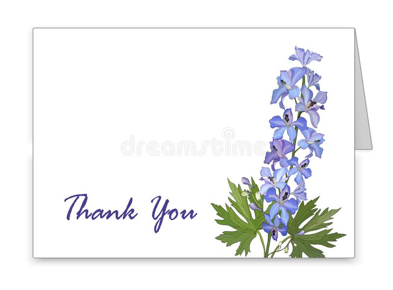 Tarjeta horizontal con una flor azul del delfinio ilustración del vector