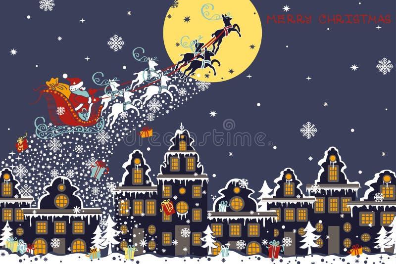 Tarjeta horizontal de la Navidad Santa Claus que viene a libre illustration