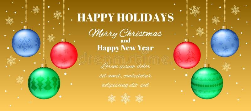 Tarjeta horizontal festiva del Año Nuevo de la bandera o de la Navidad libre illustration
