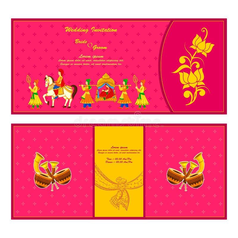 Tarjeta india de la invitación de la boda ilustración del vector