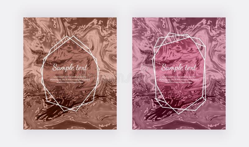 Tarjeta líquida de la textura del mármol de la acuarela Remolina la tinta, ondula el fondo del diseño Plantilla flúida de moda pa stock de ilustración