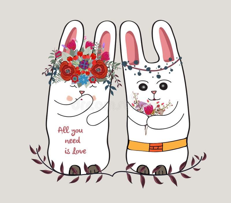 Tarjeta linda con el conejo precioso conejo de los pares en una guirnalda de flores ilustración del vector