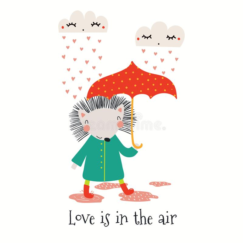 Tarjeta linda de día de San Valentín del erizo ilustración del vector