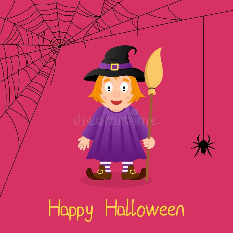 Tarjeta linda de Halloween del web de la bruja y de araña ilustración del vector