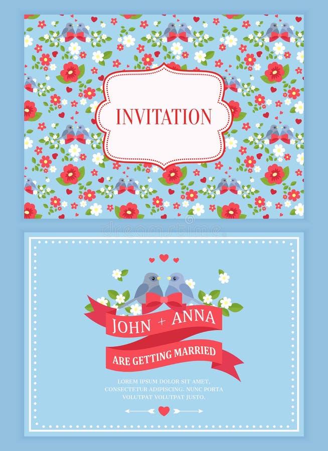 Tarjeta linda de la invitación de la boda con el estampado de flores stock de ilustración