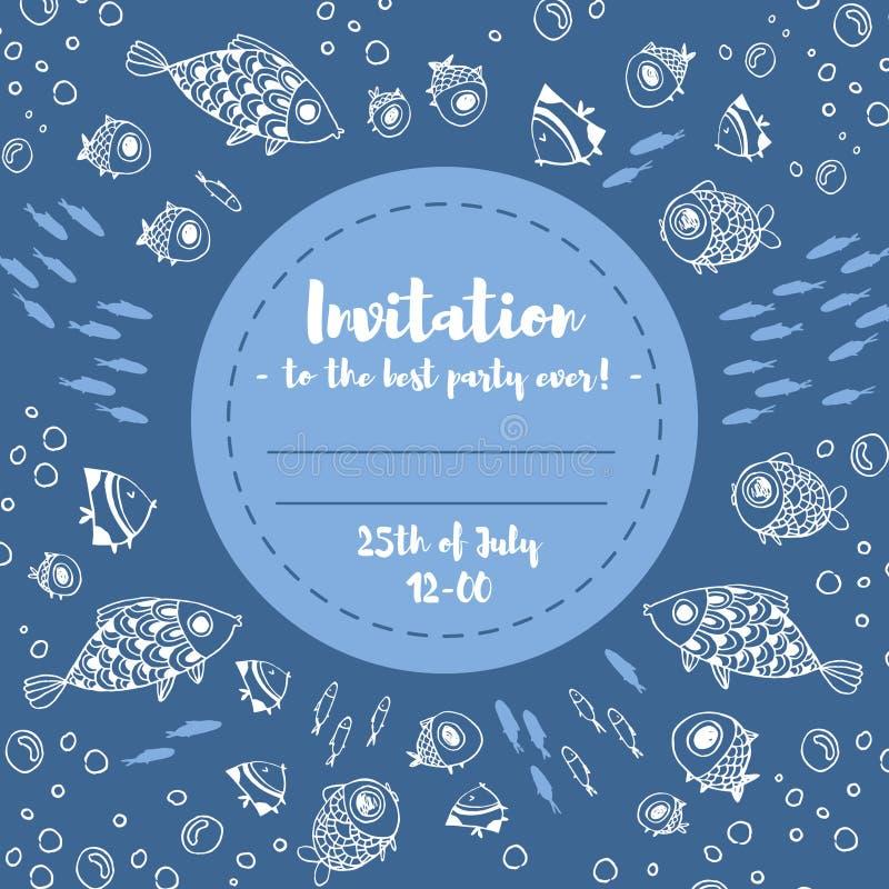 Tarjeta linda de la invitación del verano con los pescados libre illustration