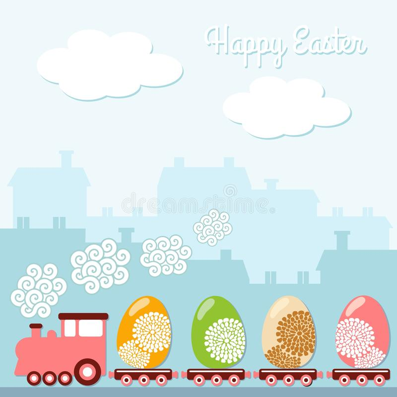 Tarjeta linda de la primavera de pascua con el tren, huevos, casas, fondo del ejemplo ilustración del vector