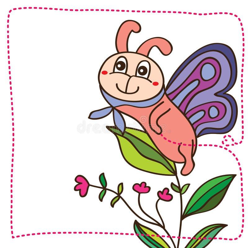 Tarjeta linda de la sonrisa de la mascota de la mariposa ilustración del vector