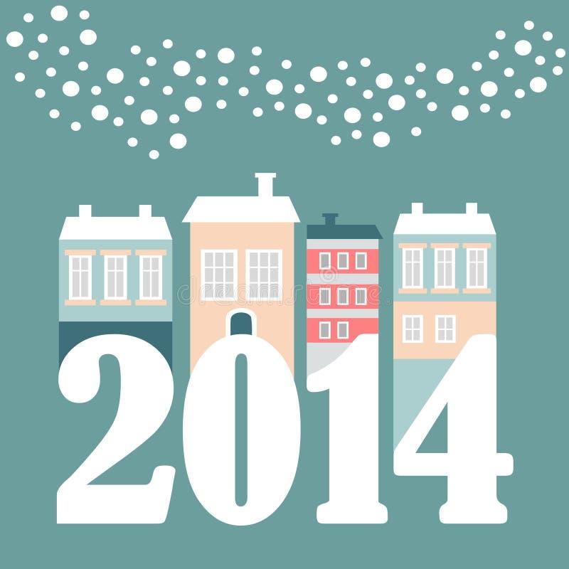 Tarjeta linda del Año Nuevo 2014 de la Navidad con las casas del invierno, copos de nieve que caen, ejemplo ilustración del vector