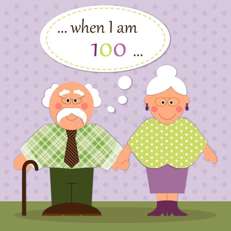 Tarjeta linda del día de los abuelos con los caracteres divertidos del abuelo y de la abuela libre illustration