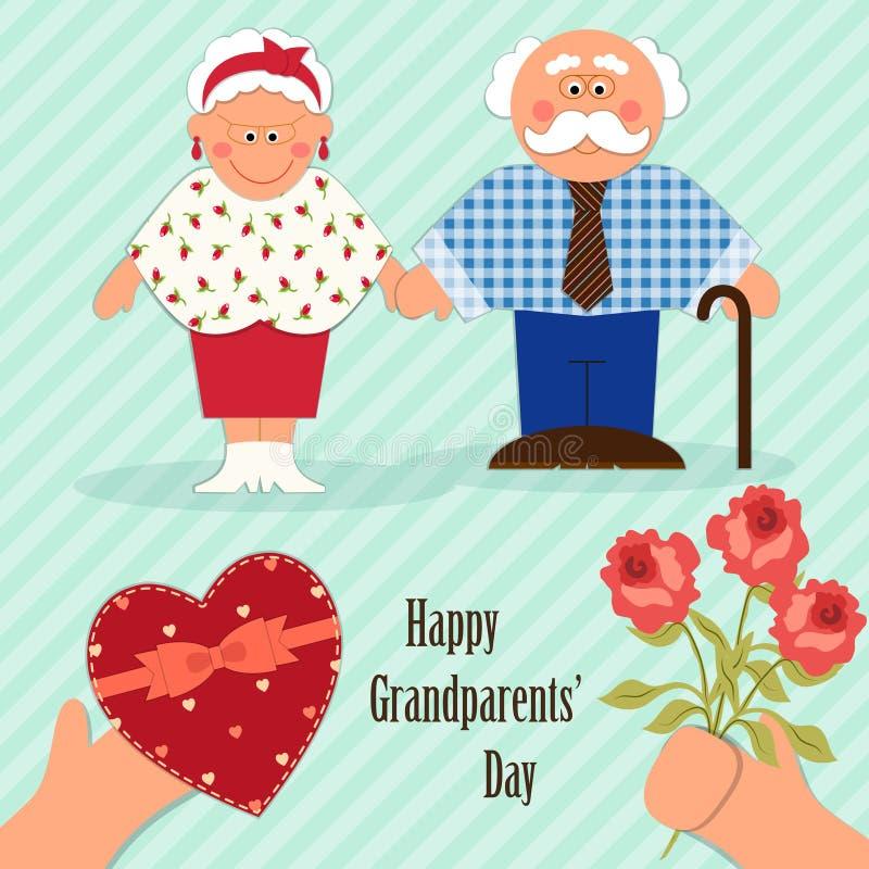 Tarjeta linda del día de los abuelos con los caracteres divertidos del abuelo y de la abuela stock de ilustración