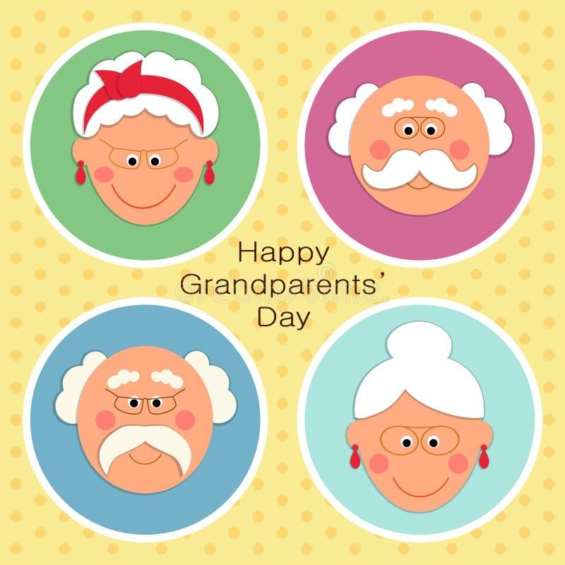 Tarjeta linda del día de los abuelos con los caracteres divertidos del abuelo y de la abuela ilustración del vector