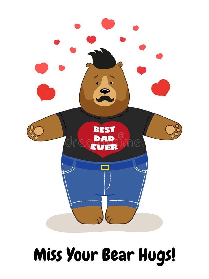 Tarjeta linda del día del ` s del padre con los abrazos que esperan del oso del papá para libre illustration
