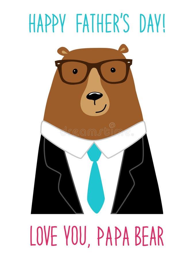 Tarjeta linda del día del ` s del padre con el oso divertido del papá libre illustration