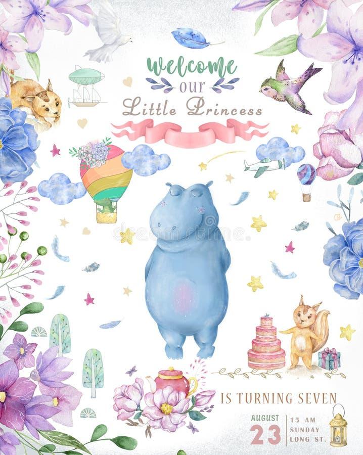 Tarjeta linda del feliz cumpleaños con el hipopótamo hipopótamo de la acuarela y flores rosadas de la belleza, floral y hoja para fotografía de archivo libre de regalías
