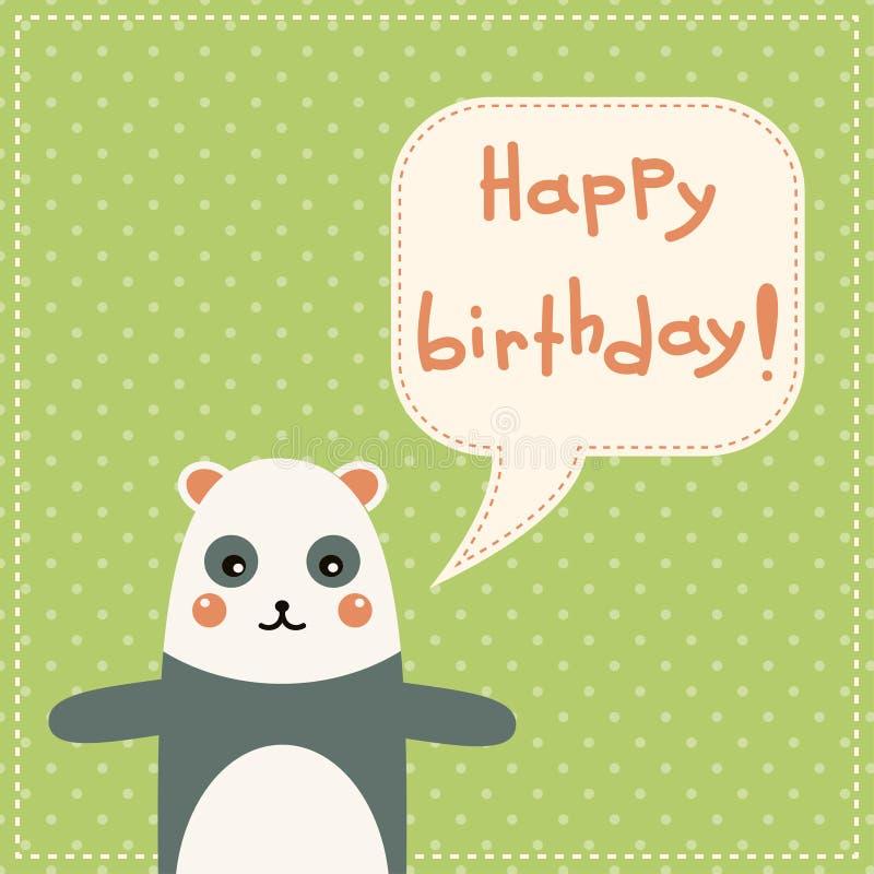 Tarjeta linda del feliz cumpleaños con la panda de la diversión. stock de ilustración