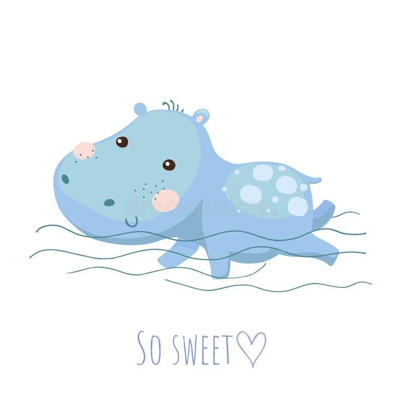 Tarjeta linda del vector del hipopótamo del bebé de la natación ejemplo del vector de los niños ilustración del vector
