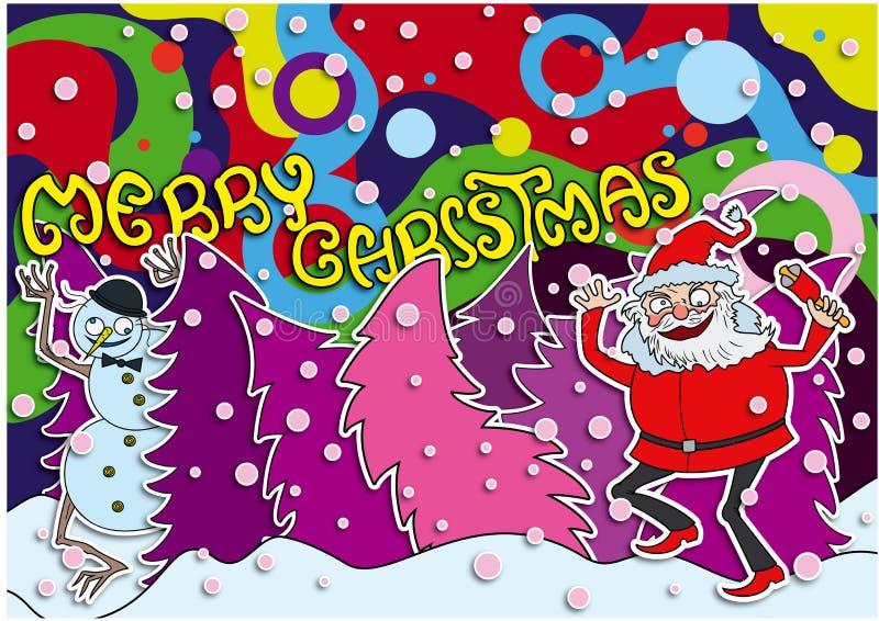 Tarjeta loca de la Feliz Navidad ilustración del vector