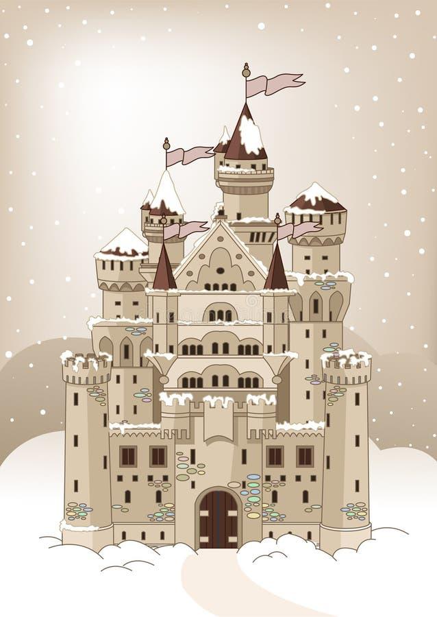 Tarjeta mágica de la invitación del castillo del invierno ilustración del vector