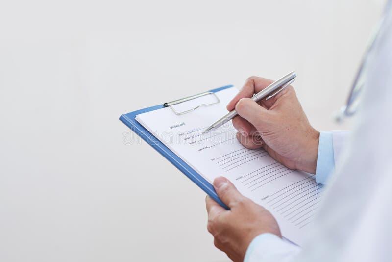 Tarjeta médica de relleno fotos de archivo