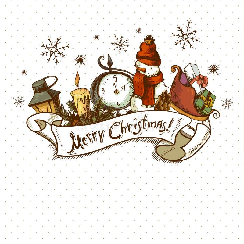 Tarjeta a mano de la invitación de la Navidad stock de ilustración