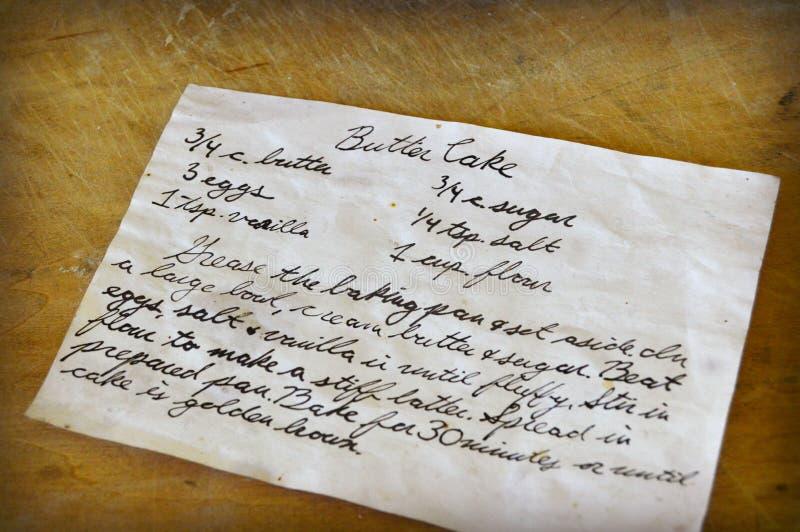 Tarjeta manuscrita vieja de la receta foto de archivo