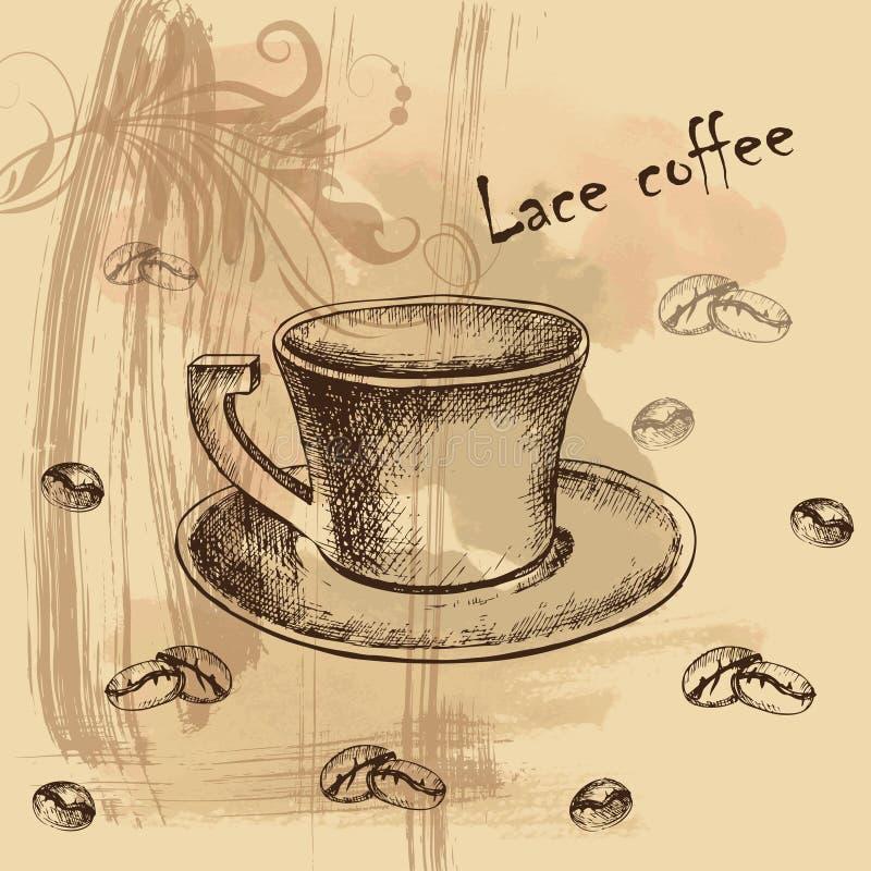 Tarjeta, menú con el bosquejo del coffe fotos de archivo