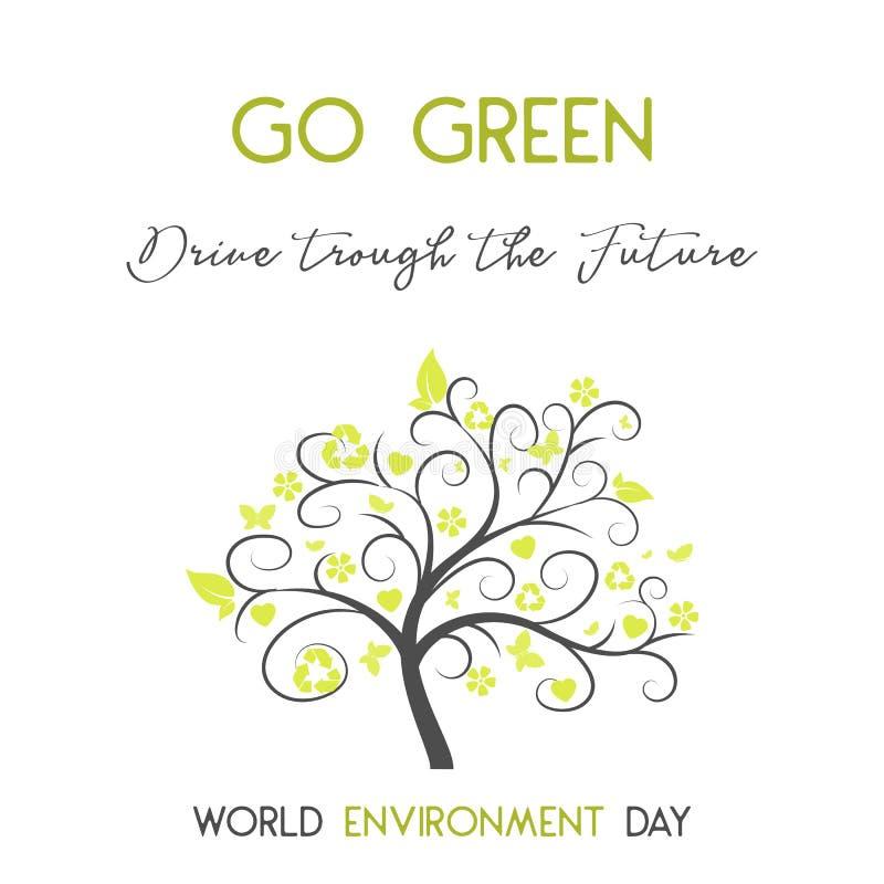 Tarjeta moderna con el simbol del árbol y de las letras dibujadas mano en el estilo minimalista para el día del ambiente mundial  libre illustration