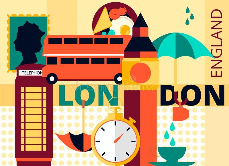 Tarjeta moderna plana de Londres del vector, la capital de Gran Bretaña con Big Ben, autobús de dos pisos y teléfono libre illustration