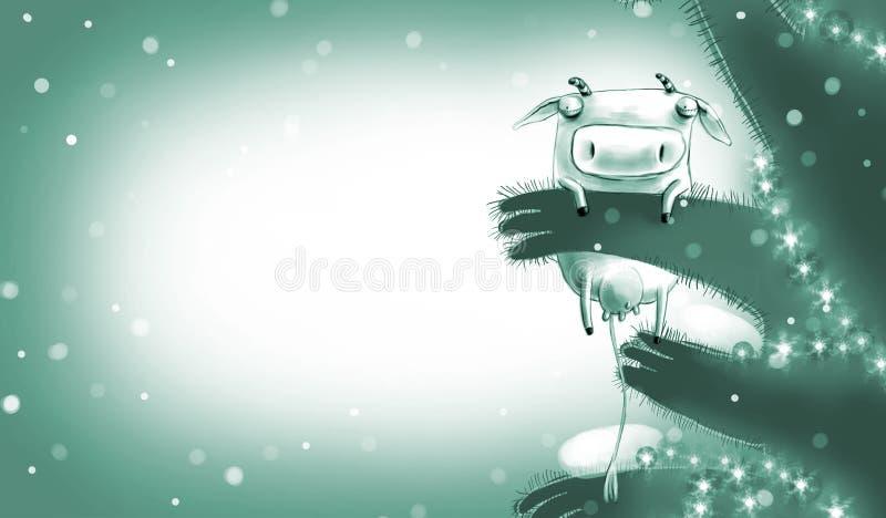 Tarjeta monocromática del Año Nuevo con la vaca mágica stock de ilustración