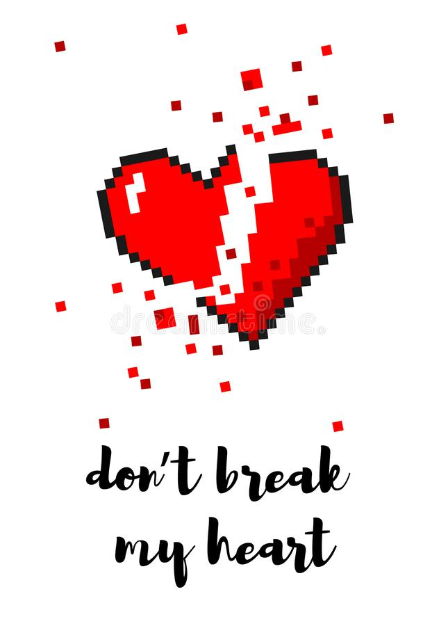 Tarjeta mordida del corazón quebrado del arte del pixel del vector 8 libre illustration