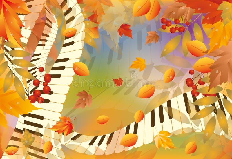 Tarjeta musical del otoño stock de ilustración