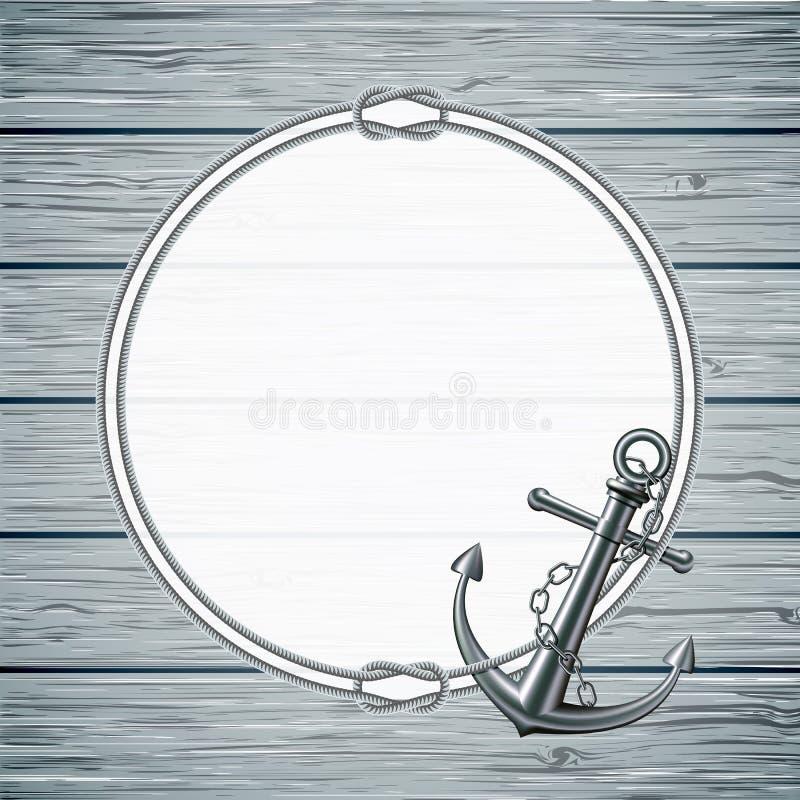 Tarjeta náutica con el marco de la cuerda y del ancla stock de ilustración