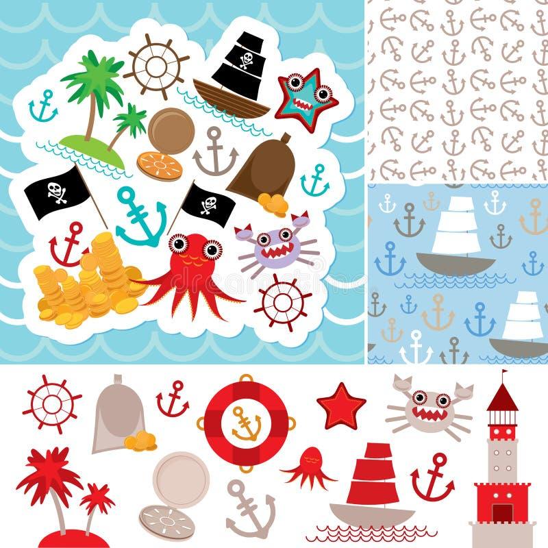 Tarjeta náutica del pedazo del vintage y modelo inconsútil con los animales de mar, piratas de los barcos el mar lindo se opone l ilustración del vector