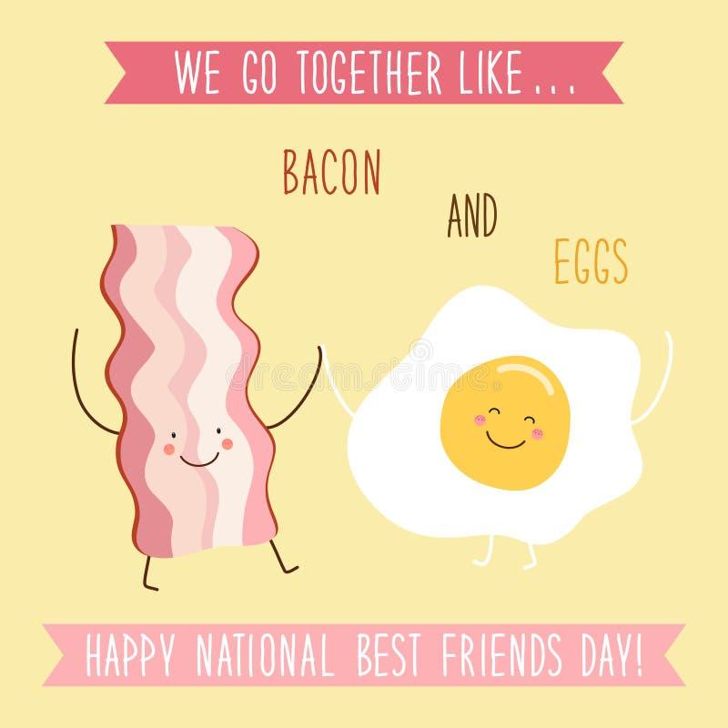 Tarjeta nacional inusual linda del día de los mejores amigos como personajes de dibujos animados dibujados mano divertida y texto libre illustration