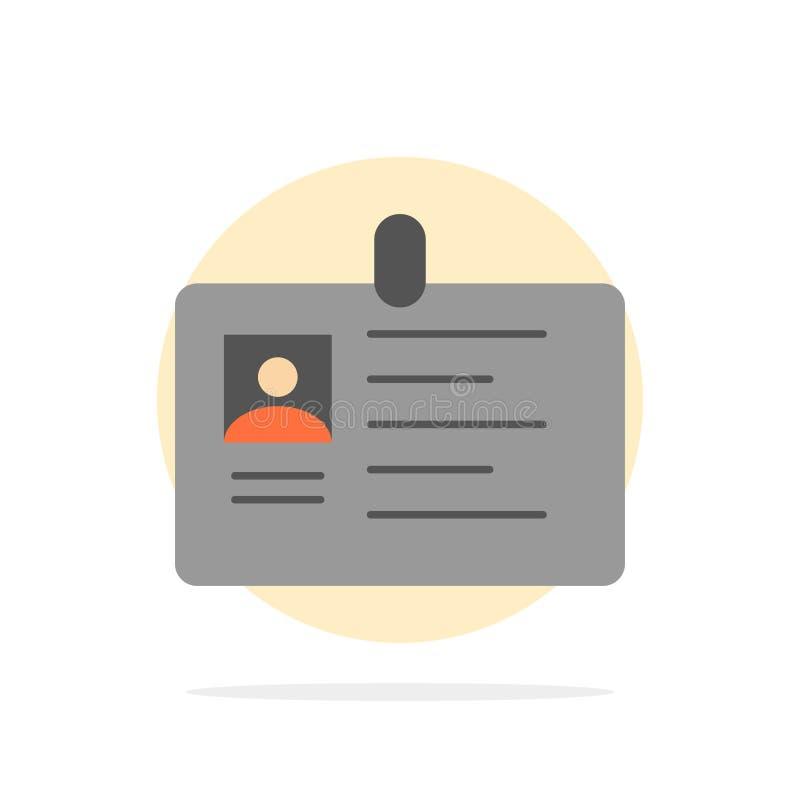 Tarjeta, negocio, corporativo, identificación, tarjeta de la identificación, identidad, icono plano del color de fondo del círcul ilustración del vector