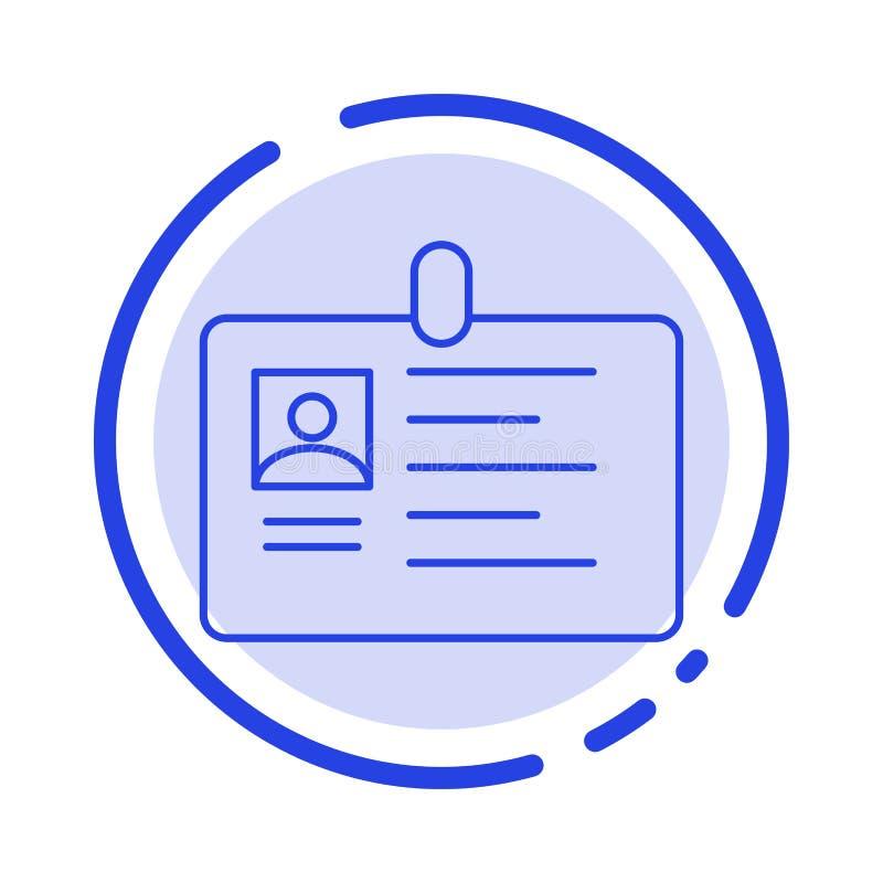 Tarjeta, negocio, corporativo, identificación, tarjeta de la identificación, identidad, línea de puntos azul línea icono del paso libre illustration
