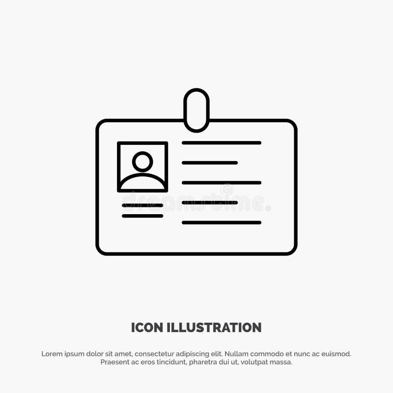 Tarjeta, negocio, corporativo, identificación, tarjeta de la identificación, identidad, línea vector del paso del icono libre illustration