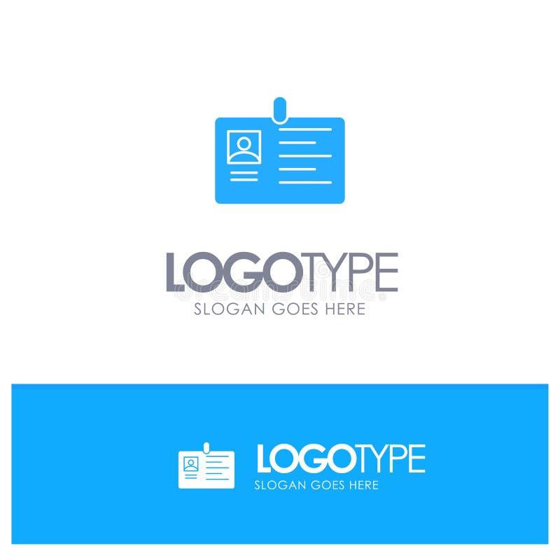 Tarjeta, negocio, corporativo, identificación, tarjeta de la identificación, identidad, logotipo sólido azul del paso con el luga ilustración del vector