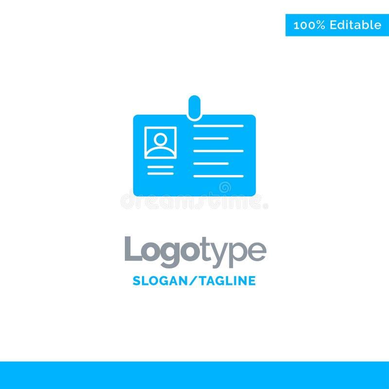 Tarjeta, negocio, corporativo, identificación, tarjeta de la identificación, identidad, paso Logo Template sólido azul Lugar para stock de ilustración