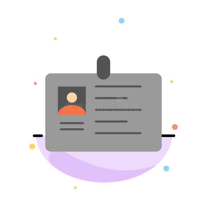 Tarjeta, negocio, corporativo, identificación, tarjeta de la identificación, identidad, plantilla plana del icono del color del e stock de ilustración