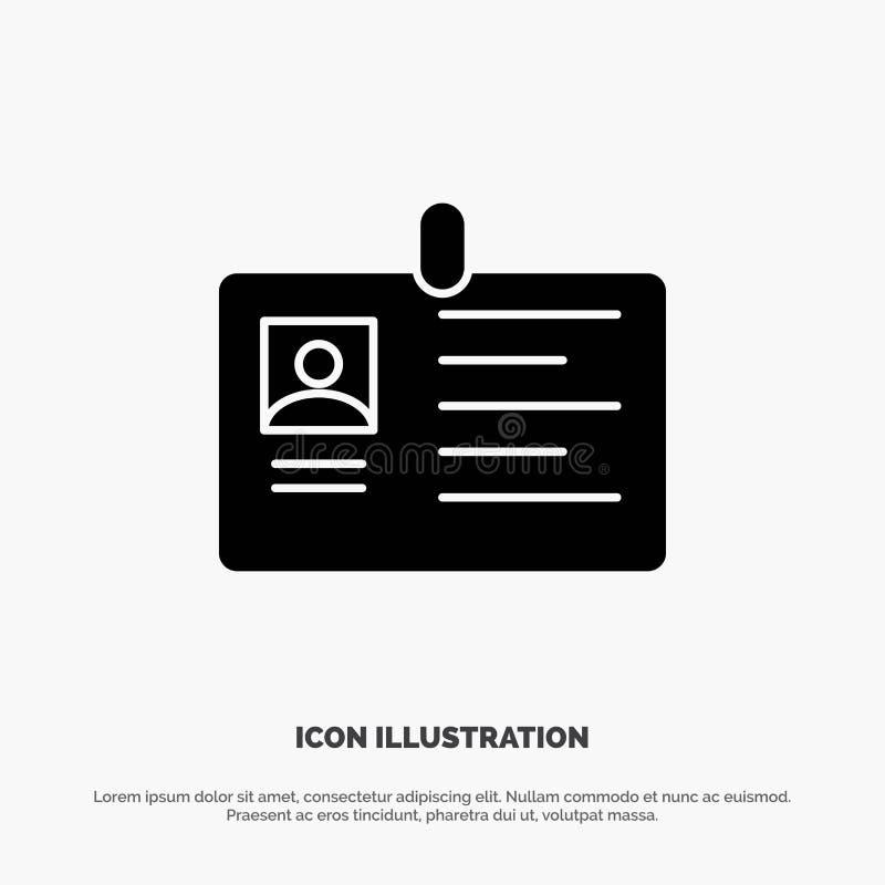 Tarjeta, negocio, corporativo, identificación, tarjeta de la identificación, identidad, vector sólido del icono del Glyph del pas libre illustration