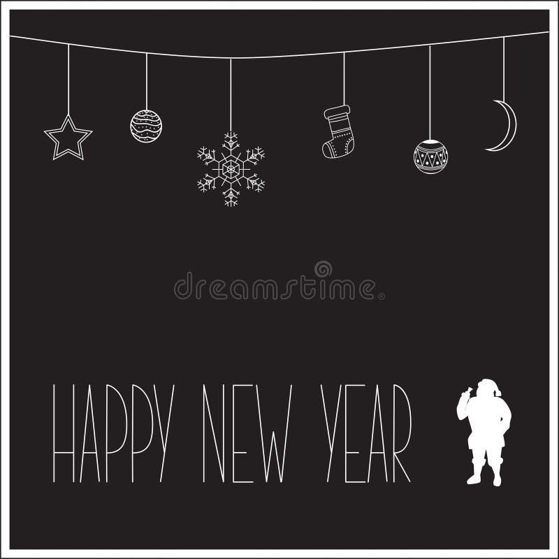 Tarjeta negra del Año Nuevo con la silueta blanca de Santa Claus y del texto Ilustración del vector fotografía de archivo