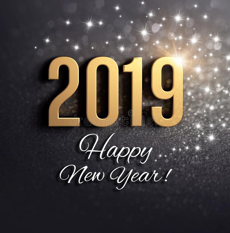 Tarjeta negra y del oro 2019 del Año Nuevo de felicitación libre illustration