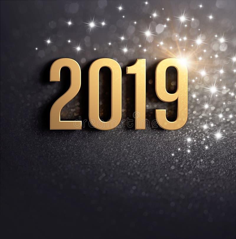 Tarjeta negra y del oro 2019 del Año Nuevo de felicitación ilustración del vector