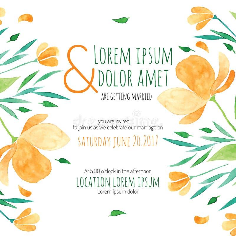 Tarjeta nupcial de la ducha de la invitación con la flor anaranjada stock de ilustración