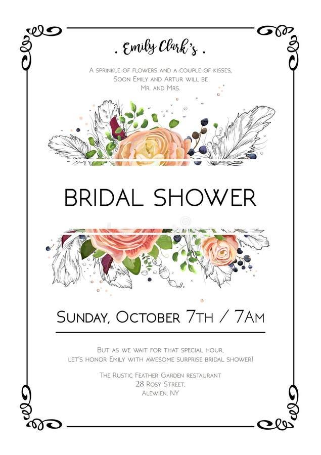 Tarjeta nupcial de la invitación de la acuarela de la boda del arte del boho del vector de la ducha ilustración del vector
