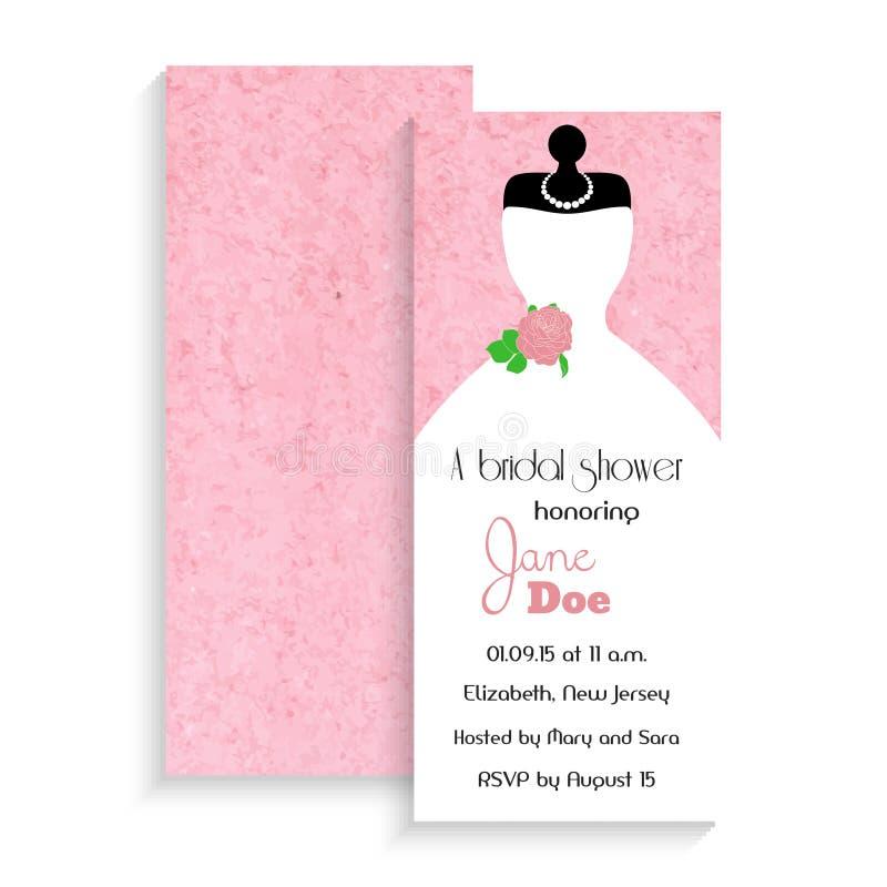 Tarjeta nupcial de la invitación de la ducha Ejemplo del vector en fondo rosado de la acuarela libre illustration